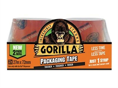 Gorilla 2 Packs Of 27m x 72mm Packaging Tape Refill Pack