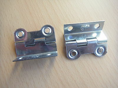 Pair of shiny metal small cranked hinges -classic / vintage style for caravan