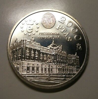 2000 PESETAS - 1995 - Presidencia Consejo Union Europea - Proof - Plata