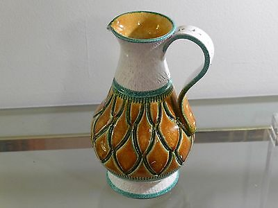 Bitossi Incised Pottery Pitcher Vintage Italian Ceramic Carafe White Turquoise
