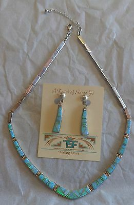 Calvin Begay A Touch of Santa Fe Necklace Clip-On Earrings Silver Lab Opal Set