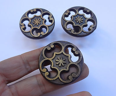 Lot 3 Vintage Solid Brass Round Pull handles 1 3/4'' # Drawer Free Shipping