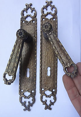 Antique Pair Solid Brass Door Lever Handles Set + Backplates Free S/H Lot 2
