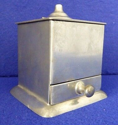 ANTIQUE Reed & Barton PEWTER INKWELL + QUILL HOLDER. Lid. Drawer. Inserts. 1928