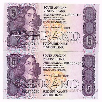 LOT OF TWO 1981-90 SOUTH AFRICA 5 RAND NOTES - p119c,e