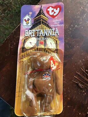 TY Beanie Baby - BRITANNIA the Bear (UK Exclusive) (8.5 inch) -MWMTs Stuffed Toy