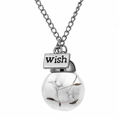 Make A Wish Glass Dandelion Seed Long Necklace
