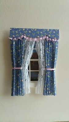 Dolls House Curtains Petrol Blue & Pinkfloral Made In Laura Ashley Fabric