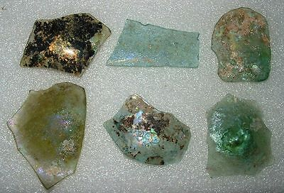 lot of 6 ancient roman glass fragments with very lovely patina amazing.