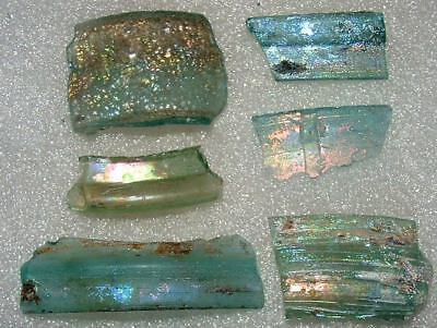 lot of 6 ancient roman glass fragments with very lovely patina amazing....