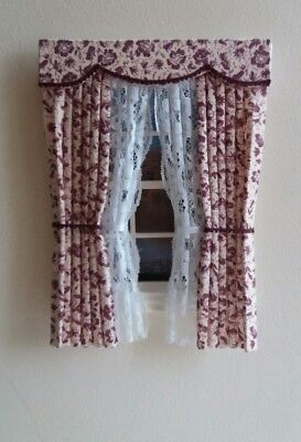 Dolls House Curtains  Beige & Maroon Made In Laura Ashley Fabric