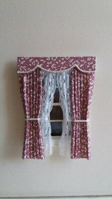 Dolls House Curtains Pale Maroon & Cream Made In Laura Ashley Fabric