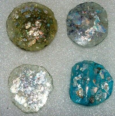 lot of 4 ancient roman glass fragments with very lovely patina amazing.