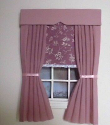 Dolls House Curtains Pink With  Laura Ashley Fabric Blind