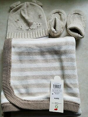 Brand New Baby Organic  Hat, Bootie and Blanket Set Baby Cat & Jack