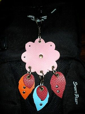 A Large Backpack Key Chain in Floral Design Multi-color Faux Leather