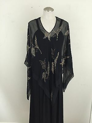 Helga Maxi Dress Gown w Sheer Coverup Black Glitter Formal Costume Halloween S