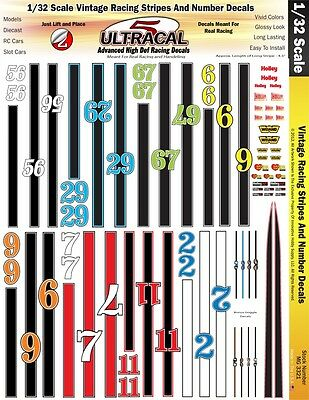 MG3221 Ultracal Vintage Racing Stripes & Number Decals 1:43 Scale Slot Car Model