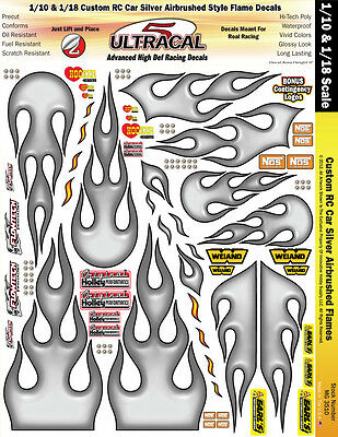 MG3510 - 1/10 - 1/18 RC Car and Truck Silver Airbrushed Style Flame Decals