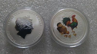"""Australian Lunar II """"Year of the Rooster"""", ( Coloured ) 2017, 1 Oz Silver coin"""