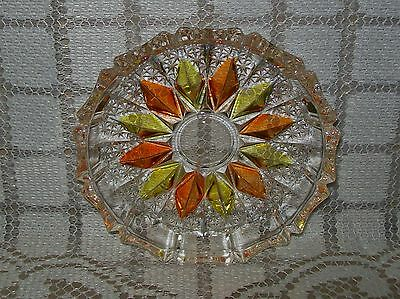 SMALL VINTAGE CUT GLASS DISH with gold/orange coloured petal design 10cm