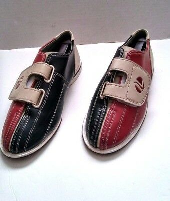Linds Retro Bowling Shoes Rental V Strap Red Blue Grey Size 7-8 Euro 40
