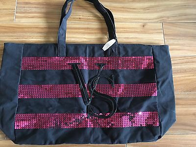 Victoria Secret Limited Edition Black Pink StrSequin Tote Beach Bag New with tag