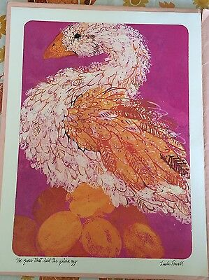 Vintage THE GOOSE THAT LAID THE GOLDEN EGG Fairy Tale Print Linda Powell