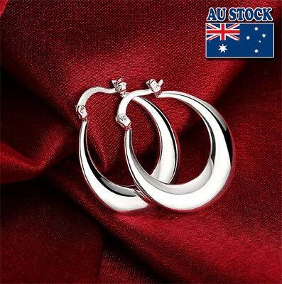 Classic 925 Sterling Silver Filled Women's Big Round Hoop Earrings