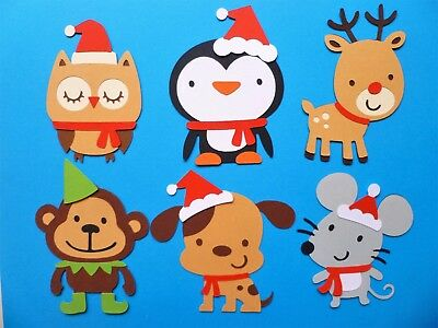CHRISTMAS CRITTERS DIE CUTS x 6 - Animal Reindeer Monkey Mouse Penguin Dog Owl