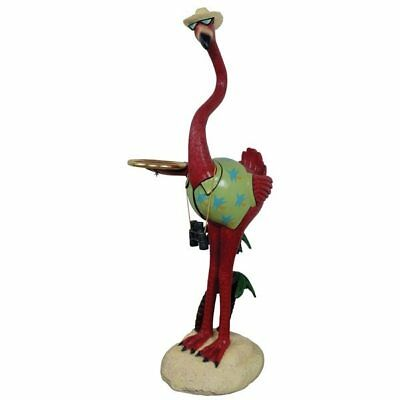 Flamingo 5 ft. Tourist Holding Tray Pink Bird Resin Statue Prop Display Decor
