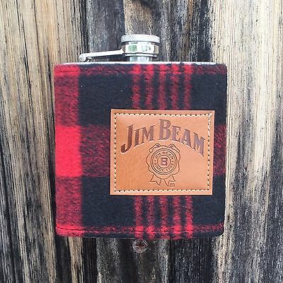 6oz Jim Beam Flannel Whiskey Flask Stainless Steel Screw Top