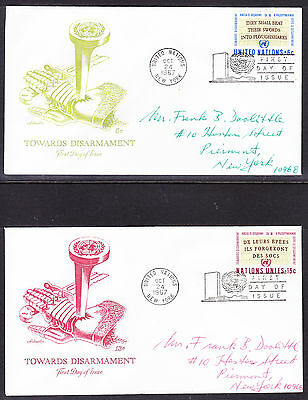 "United Nations ""Artmaster"" 1967 - Disarmament TWO  FDC  addressed"