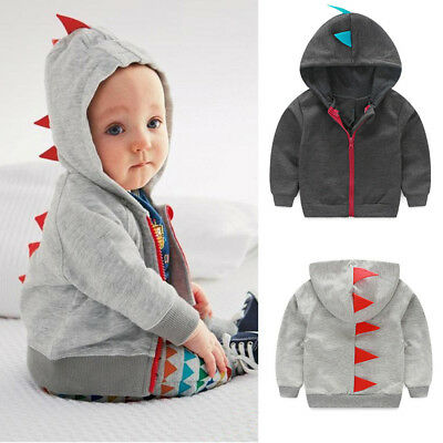 Autumn Toddler Baby Boy Girl Dinosaur Pattern Hooded Zipper Tops Clothes Coat US