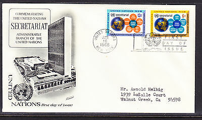 "United Nations ""Fleetwood"" 1968 - Secretariat Set First Day Cover addressed"