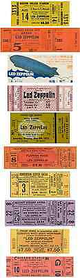 10 1970 - 80  LED ZEPPELIN VINTAGE UNUSED FULL CONCERT TICKETS  LAMINATED repro