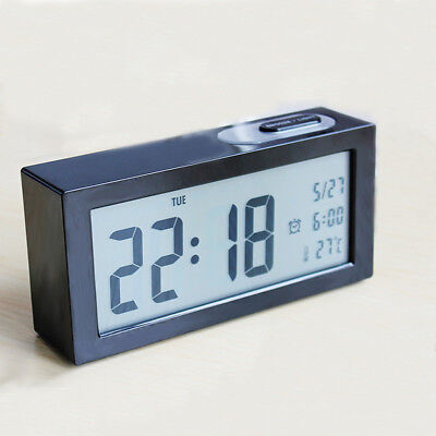 Digital LCD Backlight Thermometer Calendar Table Desk Alarm Clock Snooze