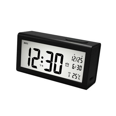 LCD Digital Backlight Desk Alarm Clock Snooze Temperature Month Date Display
