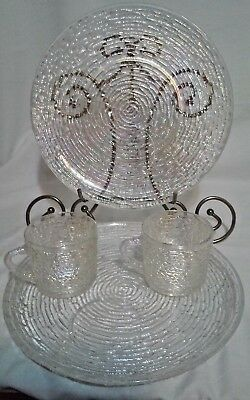 2 Vintage Iridescent Carnival Glass Luncheon Sets Large Plates with Cups or Mugs