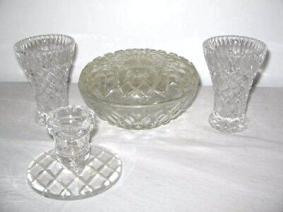 Cut Glass/Crystal Dressing Table Set Large Bowl w Lid 2 Vases 1 Candle Holder