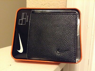 Nike Men's Black Bifold Passcase Wallet Genuine Leather Pebble Texture Wallet!!!