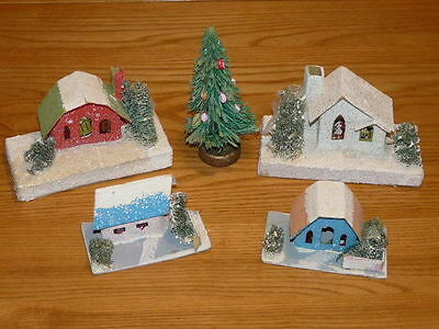 4 Vintage Christmas Village Cardboard Houses & 1 X-Mas Tree, Made in Japan