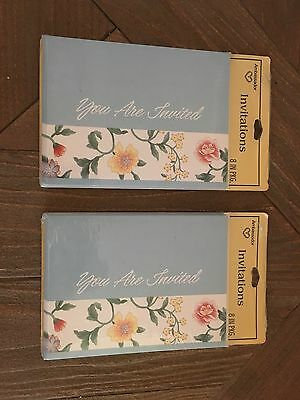 Blue Floral 1980s Vintage Blank Invitations- 2 Sealed Packs Of 8 Each