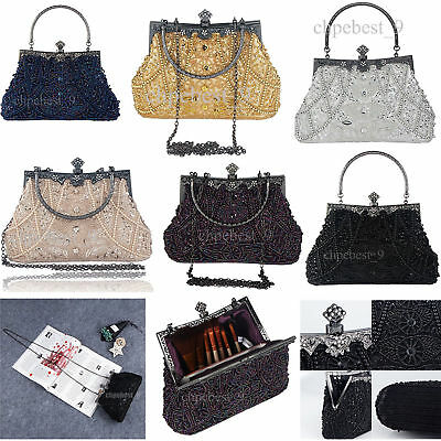 Vintage Style Beaded Sequined Evening Bags Wedding Party Handbags Clutch Purse