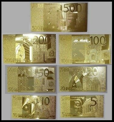 Set Complet de 7 Billets plaqués OR ( GOLD Banknotes ) - Euros