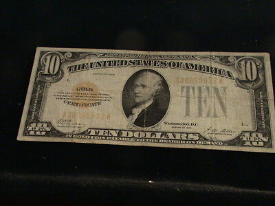 $10 Bill, Gold Certificate, Series 1928, Gold Seal       ZWA 770