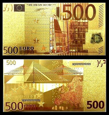 Billet plaqué OR Couleur ( Color GOLD Banknote ) - Billet de 500 Euros
