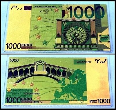 Billet plaqué OR Couleur ( Color GOLD Banknote ) - 1 000 Euros !!!