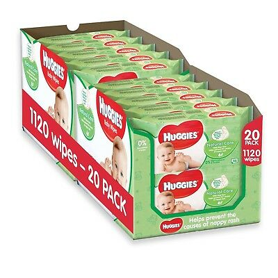 Huggies Natural Care Baby Wipes - 20 Packs (1120 Wipes Total) NEW