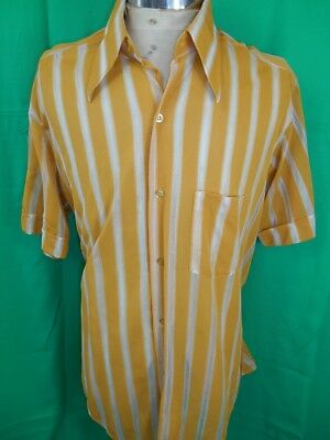 Vintage 1960s 70s Mustard White Striped Quest Short Sleeve Polyester Shirt OS